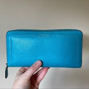 Coach Tiffany blue zipper long wallet